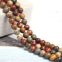 4/6/8/10 / 12mm Natural Picasso Linha Vermelha Turquesa Pedra Beads Rodada Vermelho Solto Picasso Jasper Stone Beads Para Fazer Jóias DIY