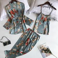 3 قطع الطباعة Pijamas المرأة رداء مجموعات السباغيتي حزام + سترة + بانت الكامل تعيين مثير بيجامة فام أنثى ملابس نوم ملابس النوم 922