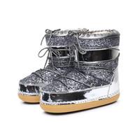 Hot Sale-inverno delle donne d'oro Glitter Sequin Snow Boots Scarpe con pelliccia sintetica dei capelli della barca da donna Bottine Femme Botine luna di trasporto