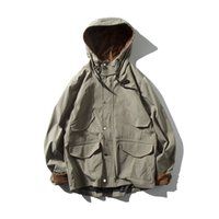 Herren Vintage Langarm Hoodie Cord Farbe Block Jacke Zip Button Up Taschen Übergroße Kapuze High Street Windbreaker Mantel