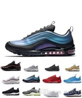 Nike air max airmax 97 all'ingrosso di alta qualità Mens Flair Triple Nero Kpu Trainer Donna sportiva il trasporto formato libero US 5,5-11