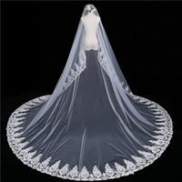 Один слой фата собор длина аппликация невесты свадебная фата румяна лицо вело свадебные аксессуары vestido де novia
