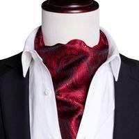 Snelle verzending heren Ascot Classic Black Red Paisley Cravat Vintage Ascot Zakdoek Cuffflinks Cravat Set voor Heren Bruiloft AS-0030