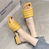 Rimocy PU del color sólido deslizadores del verano cómodo de las mujeres de tacón bajo Fuera Beach diapositivas del dedo del pie cuadrado de Casual mujer de los zapatos sandalias 2020