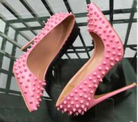 Black Rebite Rosa Vermelho Vermelho Bottom High Heelhe Sapatos 8cm 12cm 10cm Plus Size 45 Cusp Cuta Fina Salto Único Vestido Sapato Noturna Noiva