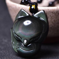 Drop Shipping Fox Pendant Necklace Natural Rainbow Eye Obsid...