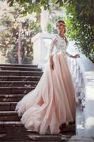 2019 romantische Spitze Tüll Rosa Hochzeitskleid Arabisch Eine Linie Tiefem V-ausschnitt Brautkleid Südafrika Plus Größe Nach Maß Vestido De noiva