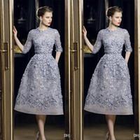 Elie Saab robes de soirée élégante dentelle Applique A-ligne Robes de bal 3/4 à manches longues thé longueur sexy robe de soirée formelle Celebrity personnalisée