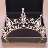 Joyería de plata perla de la corona de pelo nupcial cristalino del oro barroco de la vendimia para la boda Diademas Mujeres reina Accesorios para el cabello