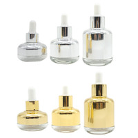 Botella 20 30 redondo de 50 ml de vidrio retornables vacías botellas de vidrio pipeta cuentagotas aceite esencial Elite Fluid envase cosmético Oro Plata