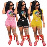 Kadınlar Tasarımcı Eşofman Mektupları Dudaklar Desen tişört Üst ve fırfır Delik Şort yazlık kıyafetler İki Adet Giyim SATIŞ D62908 ayarlar