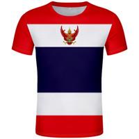تي شيرت تايلندي مجاني مخصص صنع الاسم رقم t-Shirt nation flag th th thai country college طبع صورة الشعار