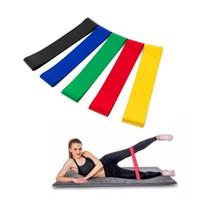 5 colores de la yoga elástico de goma de resistencia Assist Bandas de goma por un equipo de la aptitud venda del ejercicio de entrenamiento de tracción por cable entrenamiento estiramiento Cruz
