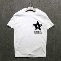2019 Sommer Kurzarm-T-Shirt Baumwolle Männer koreanische Version des Körpers Shirt fünfzackigen Stern mit halben Ärmeln Kleidung X043