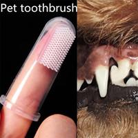 Cepillo de dientes de dedo Cepillo de perro de peluche para mascotas súper suave Mal aliento Tártaro Cuidado de los dientes Perro Gato Artículos de limpieza