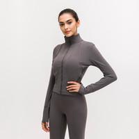 Ön Splice Koşu Ceket LU-91 Kadınlar Spor ceket Uzun Kollu Yoga Ceket Elastik İnce Yoga Üst Kadınlar Spor Gömlek fermuar