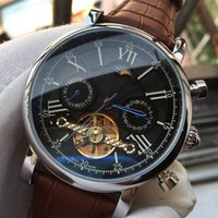 Top Luxury Watch Swiss Brand Orologio meccanico automatico a carica manuale Orologio Skeleton MoonPhase Calendario Orologio da uomo in vera pelle marrone