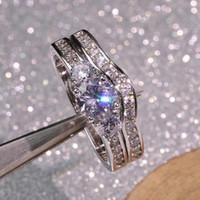 T755 925 серебряное кольцо Стець для женщин 1 карат кубического циркония камень кольцо Стець 2 шт. Y19062004