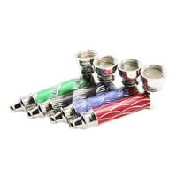 Y046 colorido del metal Tubo de Jamaica Rasta tabaco seco de hierbas tuberías mano de fumadores Mill detectores de humo pipas de fumar de metal