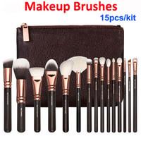 Pennelli trucco kit 15pcs oro rosa spazzola + sacchetto volto professionale e eye shadow compongono Strumenti Eyeliner Powder Foundation Blending Brush Set