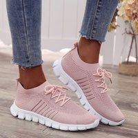 Luz zapatillas de deporte para las mujeres calcetines de malla transpirable zapatos corrientes de Mujer Formadores se deslizan en los zapatos de deporte Lace Up Casual Pisos tamaño extra grande