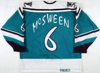 Personalizado 1995 96 Don McSween Anaheim Mighty Ducks Juego Worn Hockey Jersey Ala Salvaje Letra del equipo alternativo Logos cosidos bordados