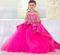 Hot Pink 2020 Pageant Dresses Long Illusion Sleeves Ball Gow...