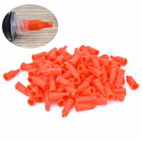 100 шт. / лот шприц наконечники колпачки оранжевый инжектор клей диспенсер дозирующая игла уплотнительная пробка