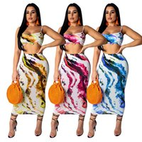 2019 new women summer paisley stripes tank top midi skinny m...