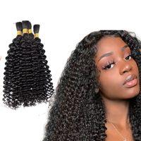 Human Treiding Hair Bulk Nessuna trama 4b 4c 4c Afro Capelli di sfusa riccia per intrecciare 100g Capelli indiani mongoli indiani trecce all'uncinetto