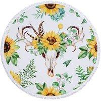 150 * 150cm Sunflower Round Beach Wrap Wrles Banque en gros Multi fleur Tassel imprimé Tastel Testel Tapis de yoga en 12 couleurs DOM1241