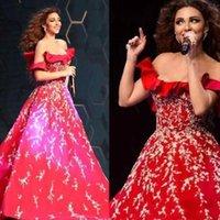 Myriam tarifas Dubai vestidos de baile 2020 Vermelho fora do ombro vestidos de noite formal lace apliques de longa celebridade concurso de celebridades