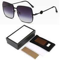 D 광장 비 선글라스 여성 브랜드 디자이너 금속 프레임 대형 일요일 안경 패션 남자 그라데이션 음영 Oculos UV400 로고와 상자