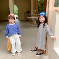 Crianças Stripe Stripe Crianças Rodada Collar Manga Longa Tops Meninas Camisola Vestido A3310