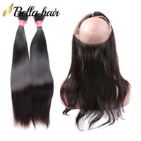 حزم البرازيلية الشعر 100٪ العذراء لحمة الشعر البشري مع 360 الدانتيل أمامي مستقيم الشعر النسيج اللون الطبيعي بيلاهير