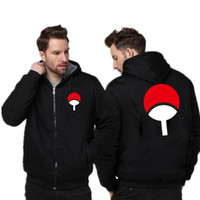 Japan Anime Uchiha Hoodies 2019 Winter-Vlies Dicke Männer Sweatshirt Street Cartoon Hip Hop Hoodie Männer-Mantel-Jacken