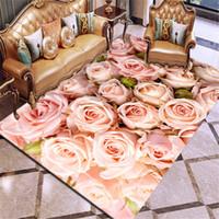 Stampa 3D Moquette Rosa Fiore Tappeto multicolore Rosa Rosso Wedding tappeto antiscivolo tappeto da salotto Grandi ragazze in camera tappeto a casa T200111