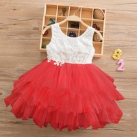 2019 New Girls' lace dresses are full of girls' dr...