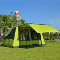 새로운 도착 8-12 사람 Ultralarge 더블 레이어 방수 방풍 슈퍼 강력한 캠핑 텐트 대형 전망대