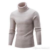 Mens Casual Sweaters 5 Colors Ribbed Turtle Neck Pullovers L...