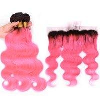 Silanda Hair Pre الملون أومبير اللون #t 1b / الوردي الجسم موجة ريمي الشعر البشري ينسج 3 حزم مع 13x4 الجبهة الدانتيل شحن مجاني