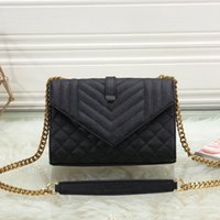 Classic V shape Black quilted texture leather bag handbags purses women chain Clamshell messenger packages single shoulder crossbody bags