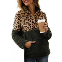 Abrigo de piel sintética Mujer Chaqueta de jersey con cremallera suave empalmada de leopardo Abrigo de felpa para mujer Otoño Invierno Abrigo de bolsillo cálido