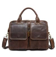 جلد طبيعي عارضة الرجال حمل الحقائب CROSSBODY حقائب الرجال في حقيبة الكمبيوتر المحمول 14 '' رسول الرجال حقيبة حقيبة الكتف