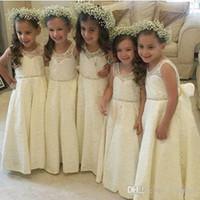 Sweety Princess Country cheia do laço 2020 Comunhão Vestidos A flor linha menina Vestidos Jewel mangas Zipper frisado Collar Império longo meninas