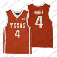 Texas Longhorns # 4 Mohamed Bamba Mo Retro Orange Nome cucito Numero NCAA College Basketball Jersey economici di buona qualità S-3XL