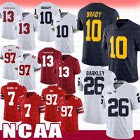 beyaz Alabama Crimson Tide futbol Jersey 13 Tua Tagovailoa Michigan Wolverines 10 Tom Brady Penn State Nittany Lion 26 Saquon Barkley