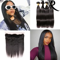 13x4 Lace Frontals Closure with 3 Bundles Peruvian Straight ...