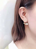 Luxury Stud women Earrings High quality pearl heart letter E...