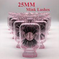 25 mm de largo etiqueta 3D Mink Pestañas privada Logo Mink extensiones de pestañas dramático grueso Mink Lashes Crueldad libre mullido naturales pestañas falsas
